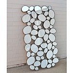 Contemporary Beveled Glass Bubble Pattern Mirror