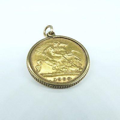 English 1900 half Sovereign 9ct Yellow Gold Frame