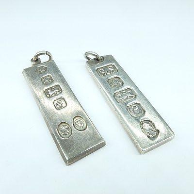Two Sterling Silver Ingot Pendants