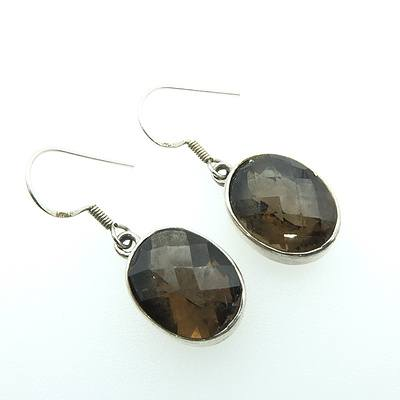 Sterling Silver Oval Facetted Smokey Quartz Earrings