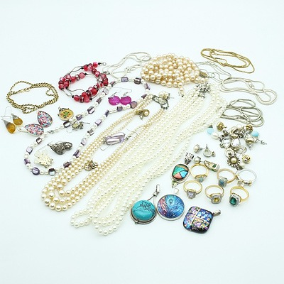 Group of Rings, Pendants, Necklaces, Earrings and a Red Bogesi Leather Wallet