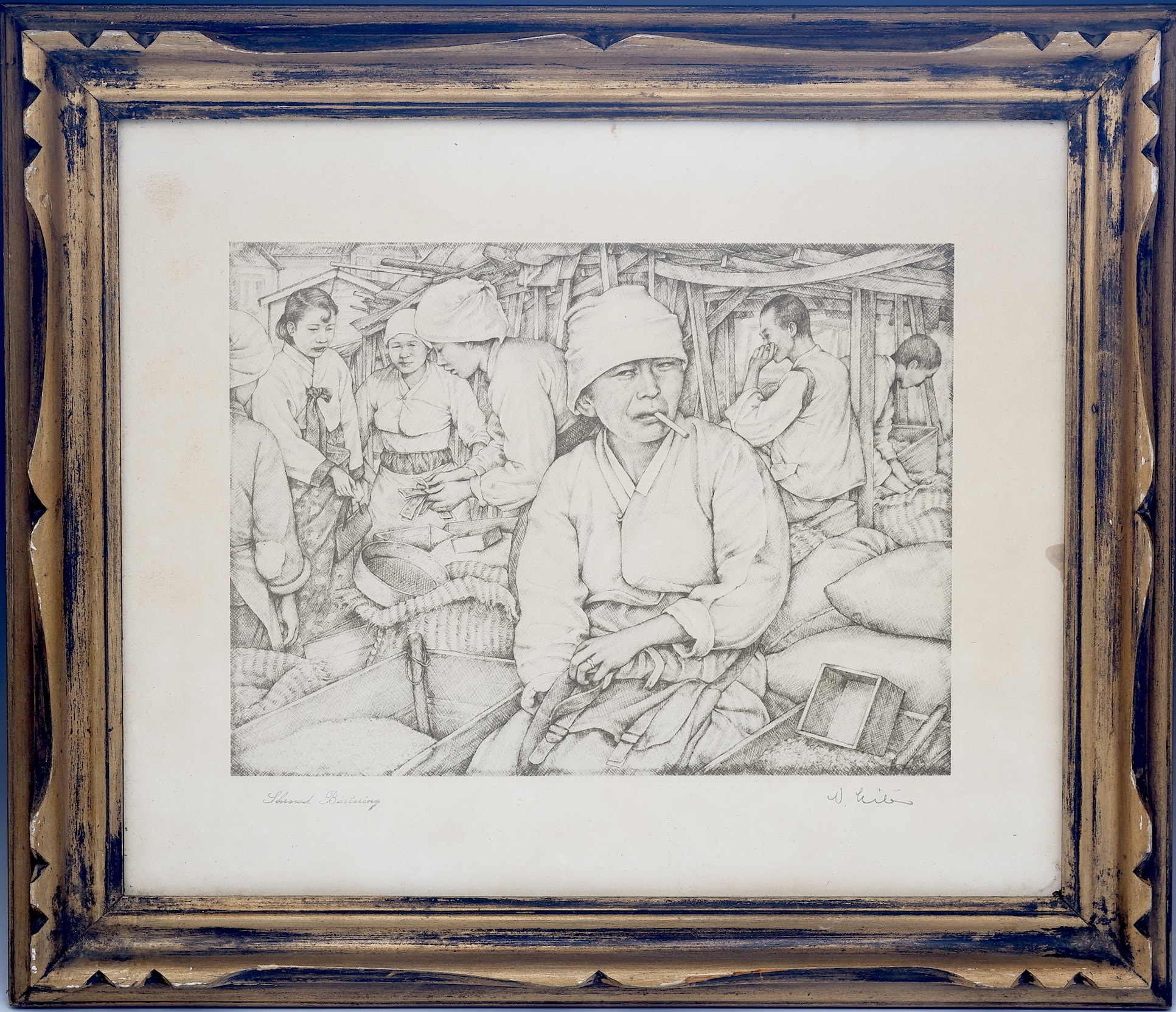 'Willy Seiler (1903-1997) Shrewd Bartering (Korean Market), Etching'