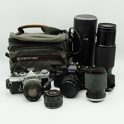 Olympus OM-1 and Ricoh XR-10 with Lenses