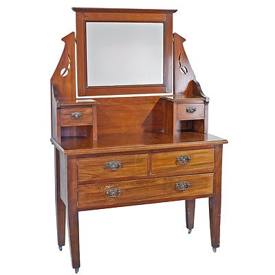 Federation Stained Kauri Pine Dressing Table Early 20th Century