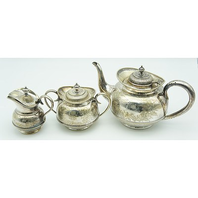 Engraved Silver Plated Matched Teapot, Sugar and Milk Jug