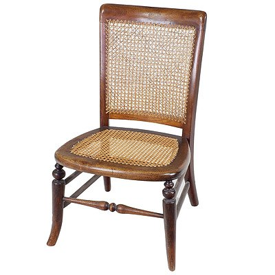 Caned Victorian Walnut Low Chair