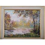 Lake Scene - Oil on Canvas