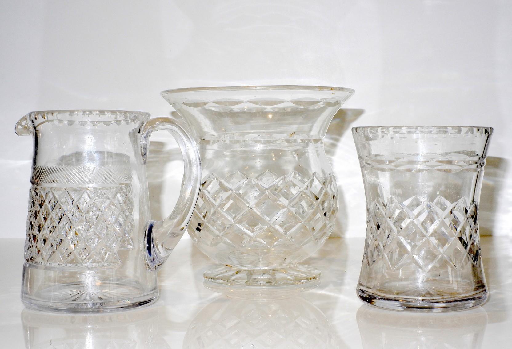 'Three Various English Cut Crystal Wares'