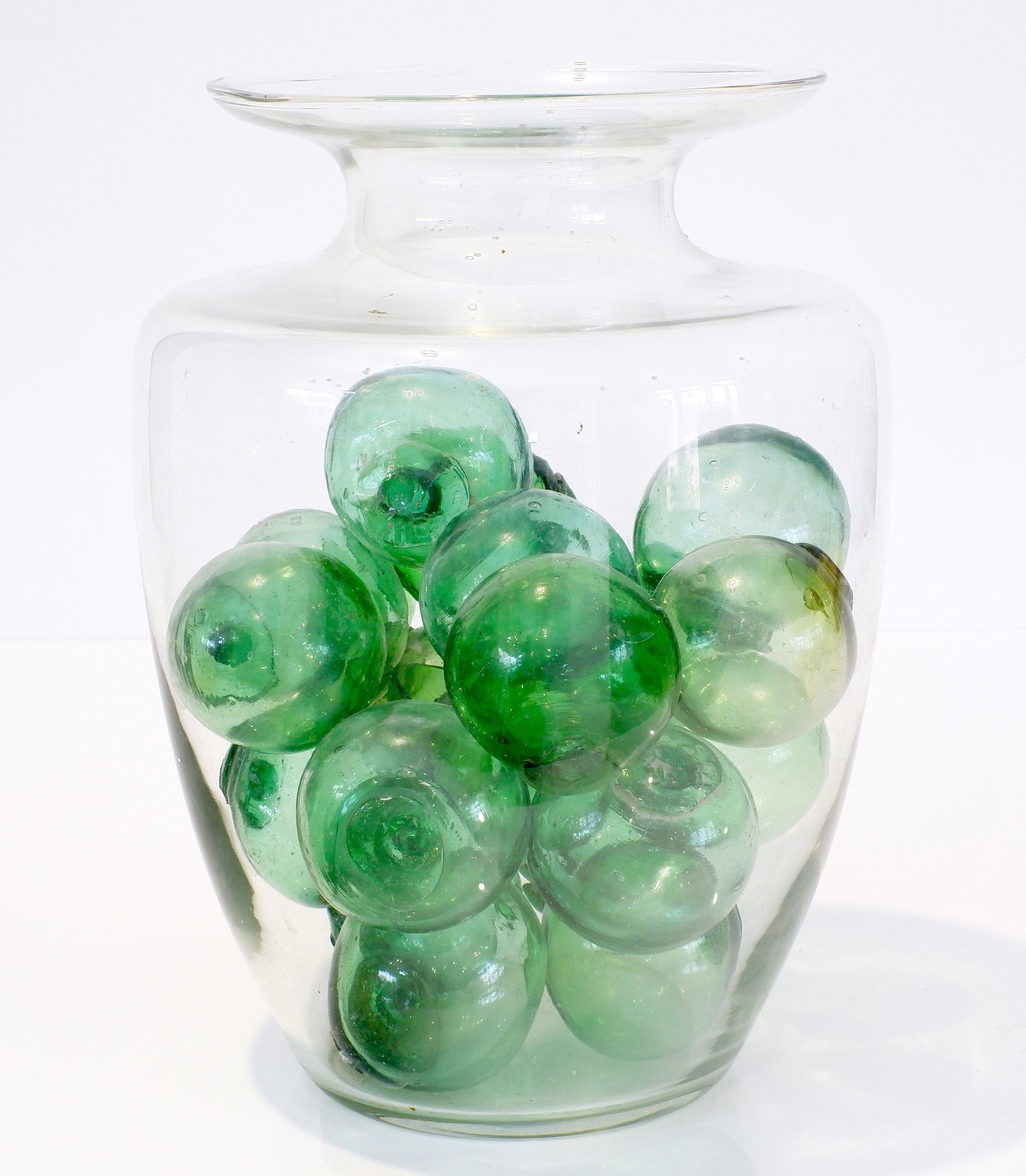 'Collection of Vintage Korean Hand Blown Green Glass Fishing Floats'