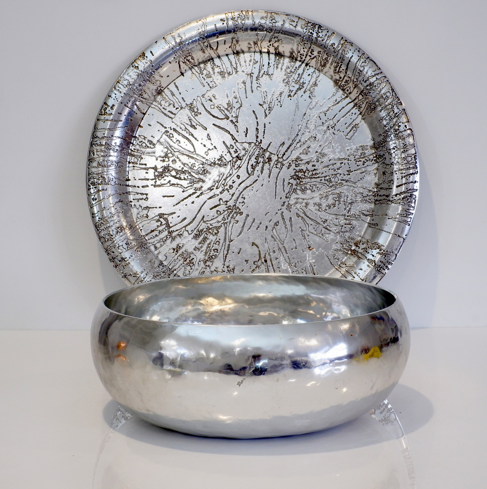 'Signed Don Sheil Hand Wrought Aluminium Bowl and an Unknown Tray'