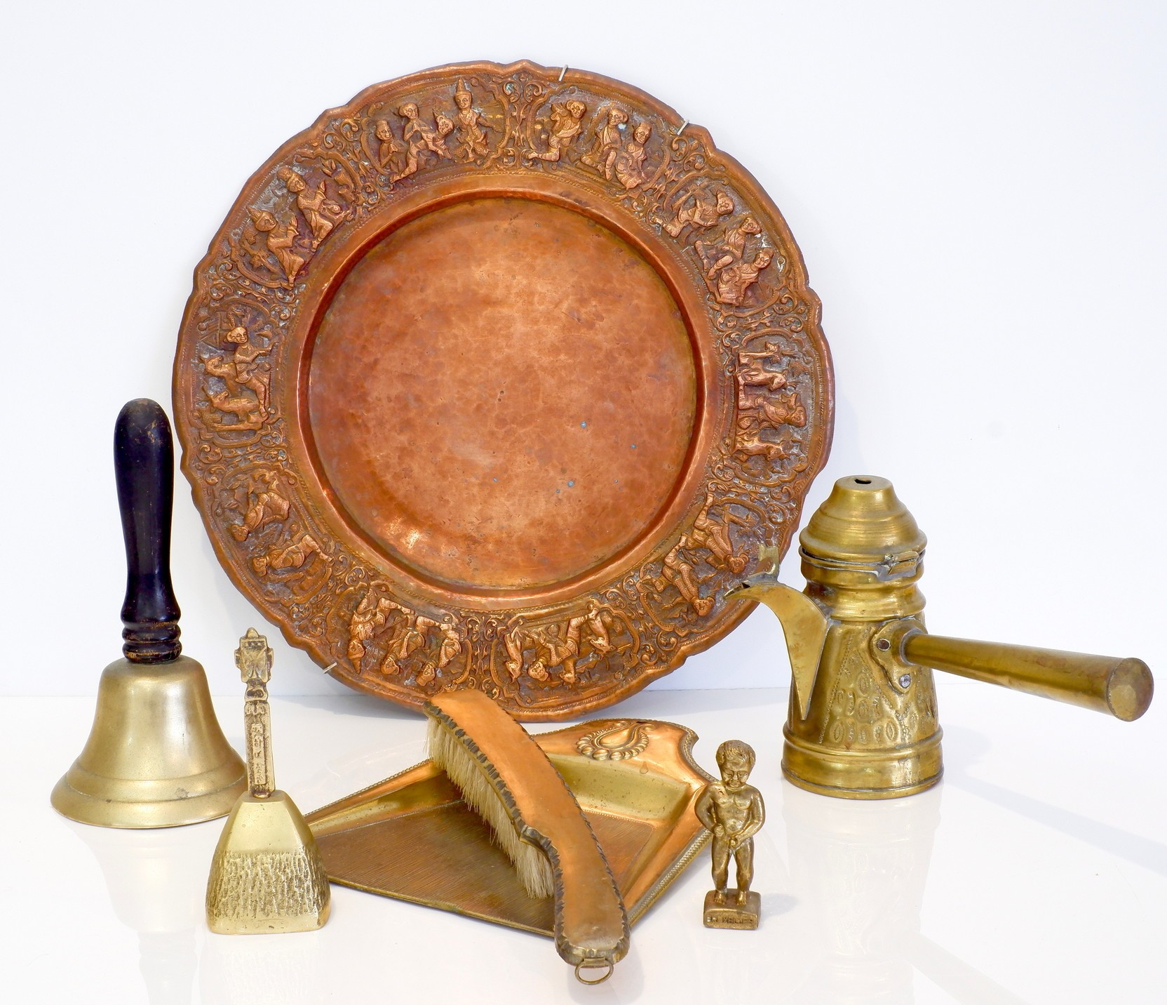 'Various Vintage Brass Items and a Burmese Repousse Copper Tray'