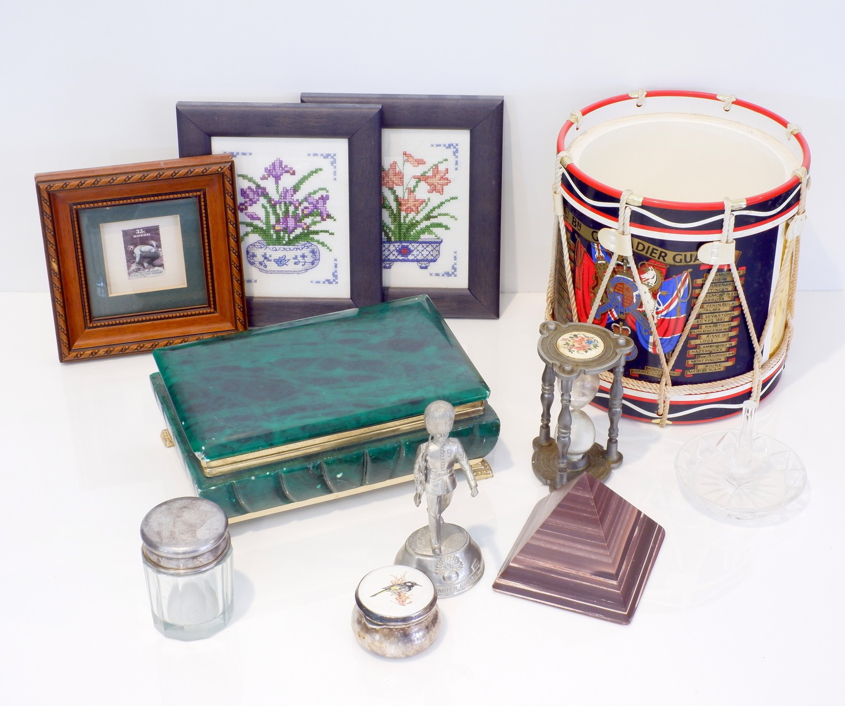 'Grenadier Guard Decorated Champagne Bucket, Stained Alabaster Jewellery Box, Two Needleworks and More'