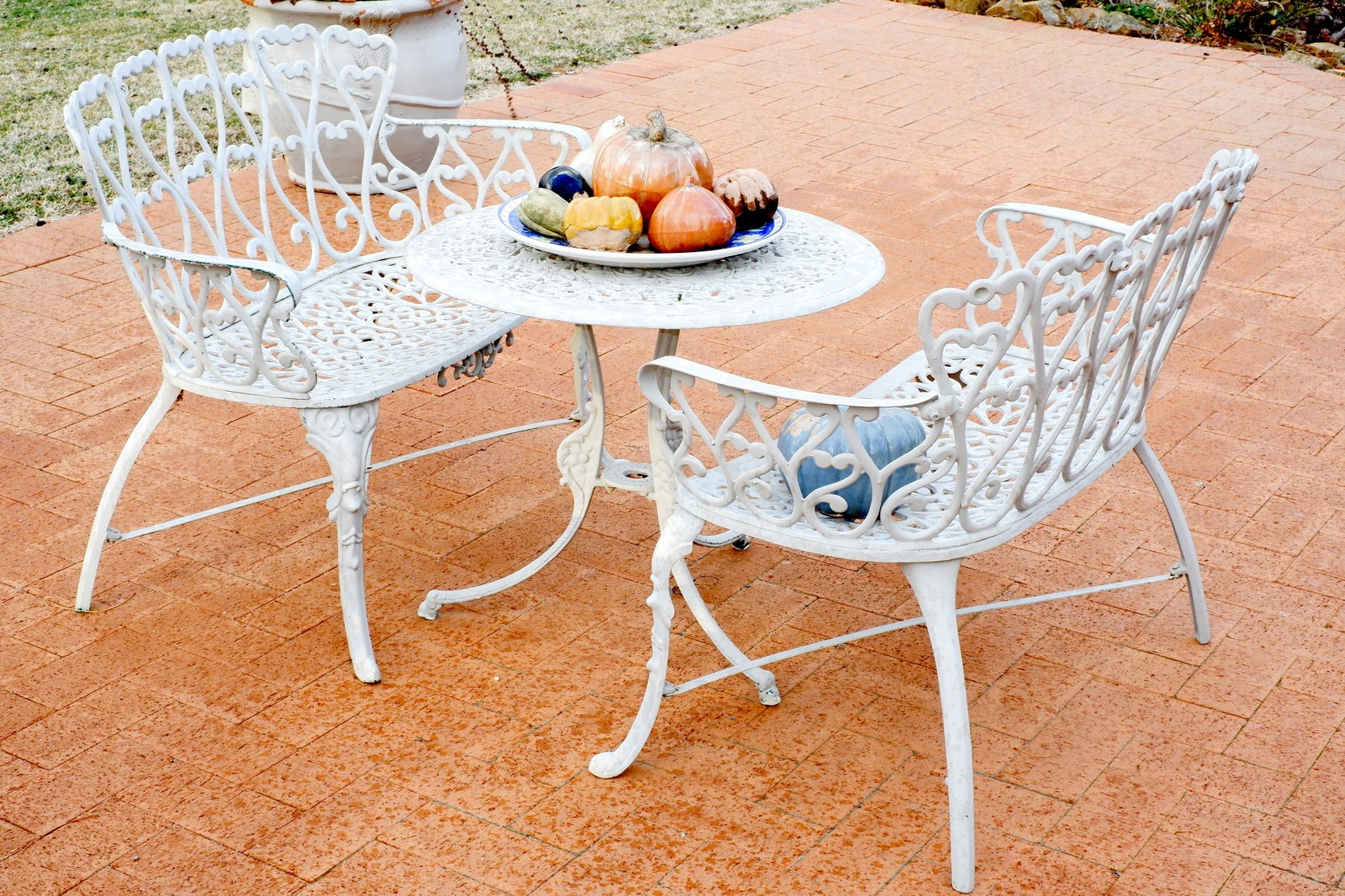 'Vintage Cast Metal Alloy Outdoor Setting'