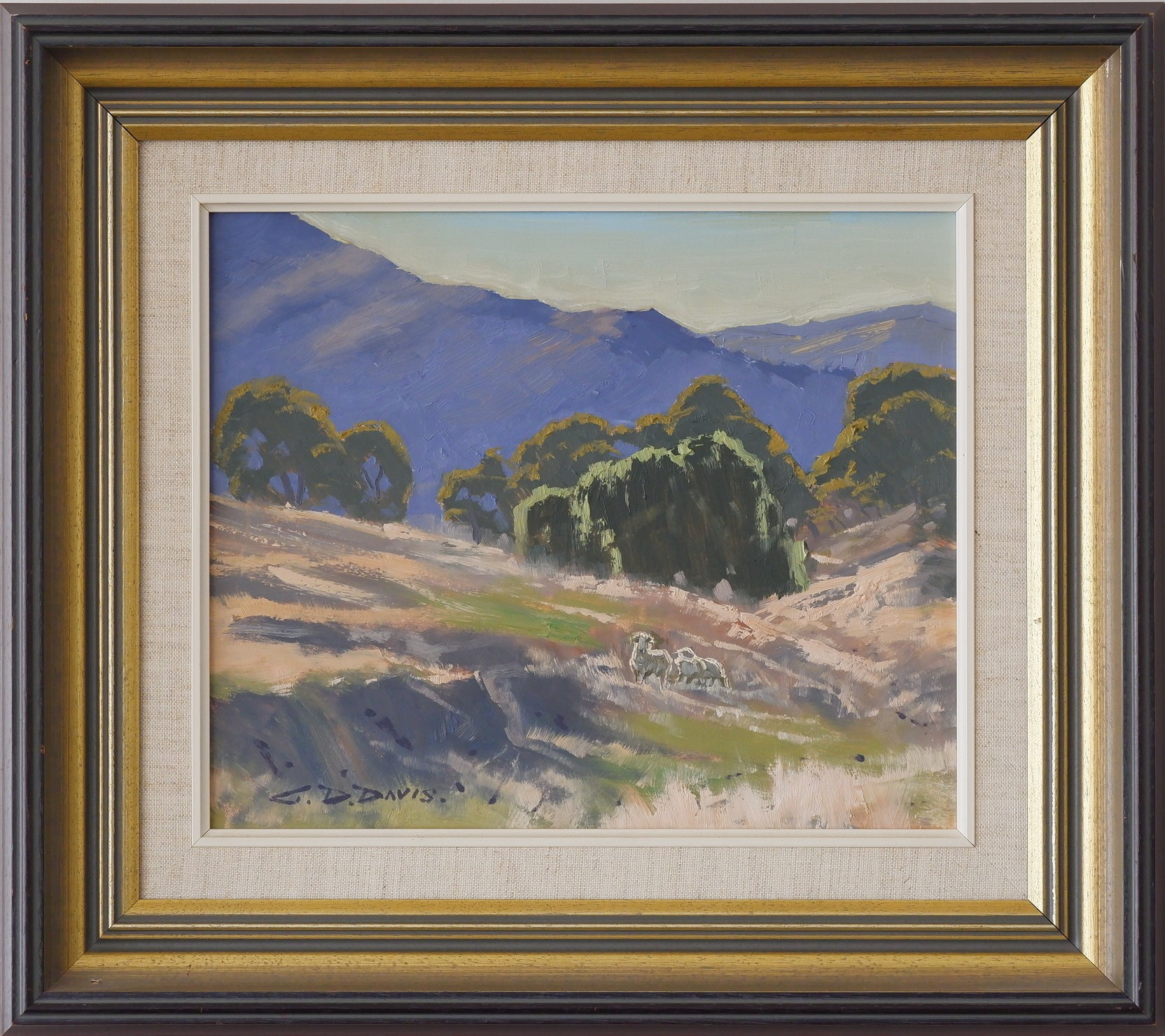 'Geoffrey Davis (1926-) Monaro Pastoral Scene Oil on Board'