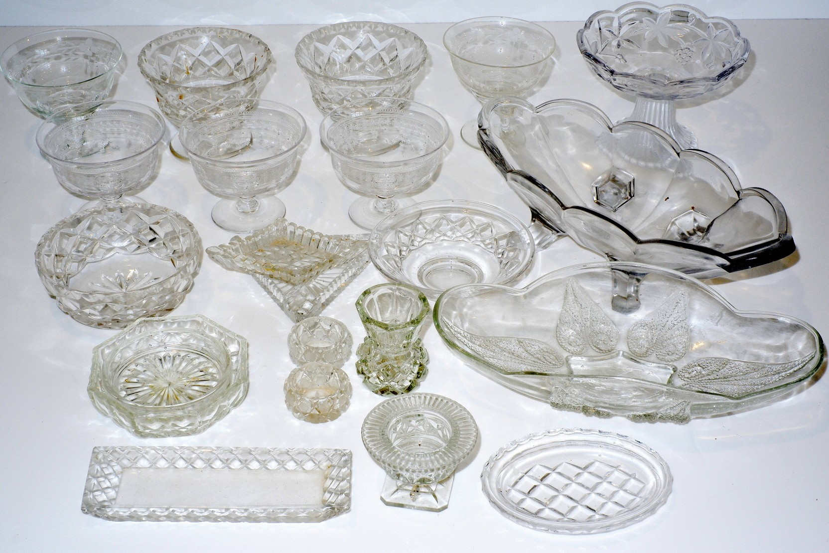 'Large Groups of Cut Crystal and Glass, Including Three Stuart Dessert Coupes'