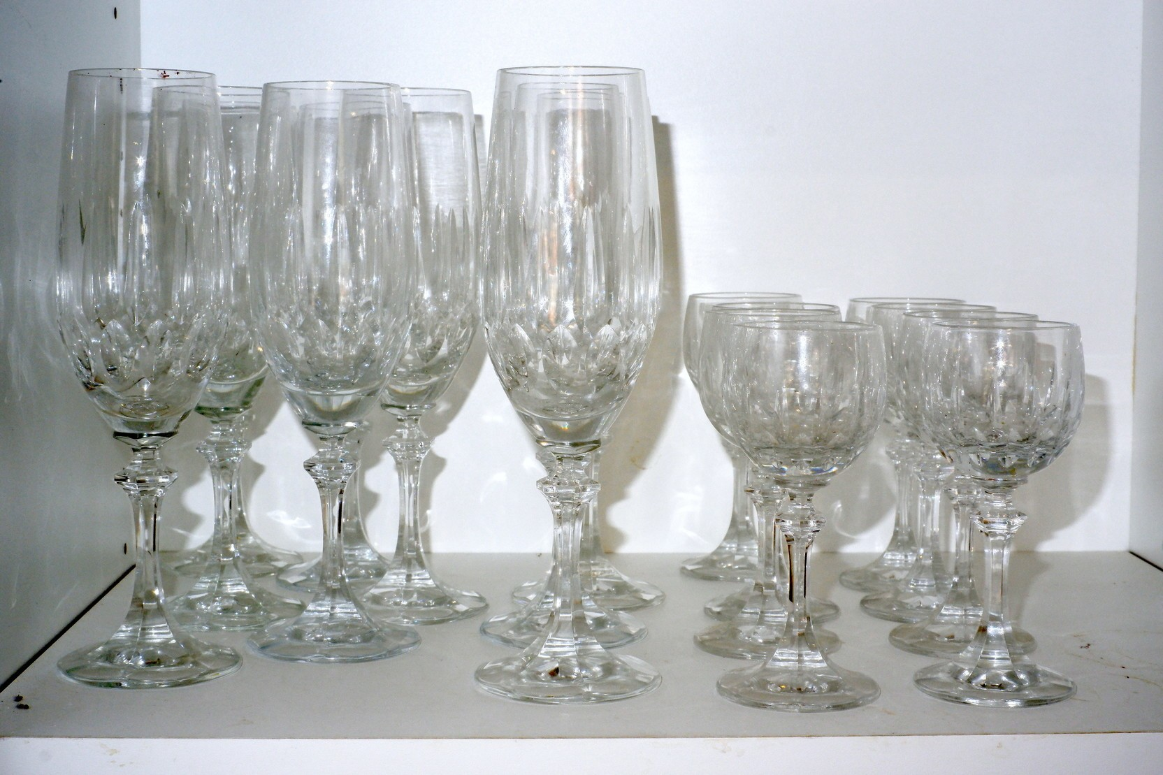 'Large Group of Stemmed Drinking Glasses'