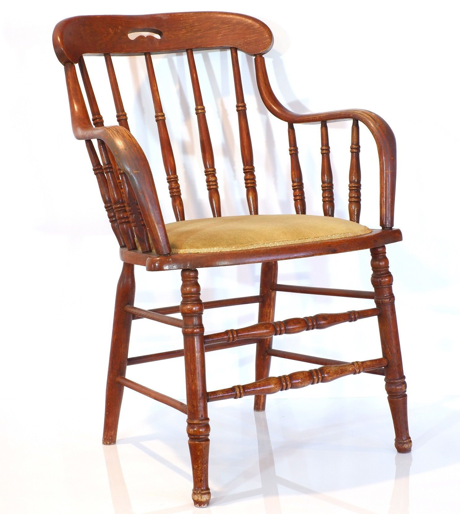 'American Oak Spindle Back Captains Chair Circa 1900 Sat in By Queen Elizabeth During Her 1970 Visit'