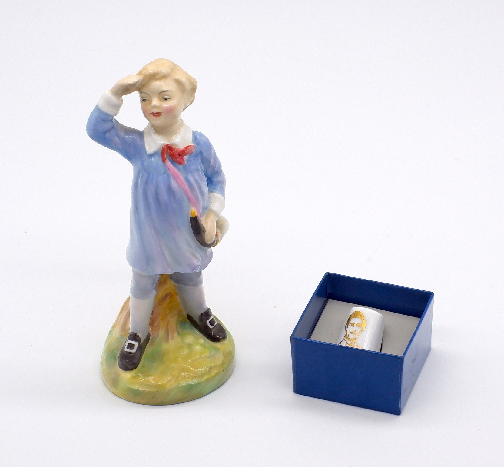 'Little Boy Blue Royal Doulton Figure and a Worcester Thimble'