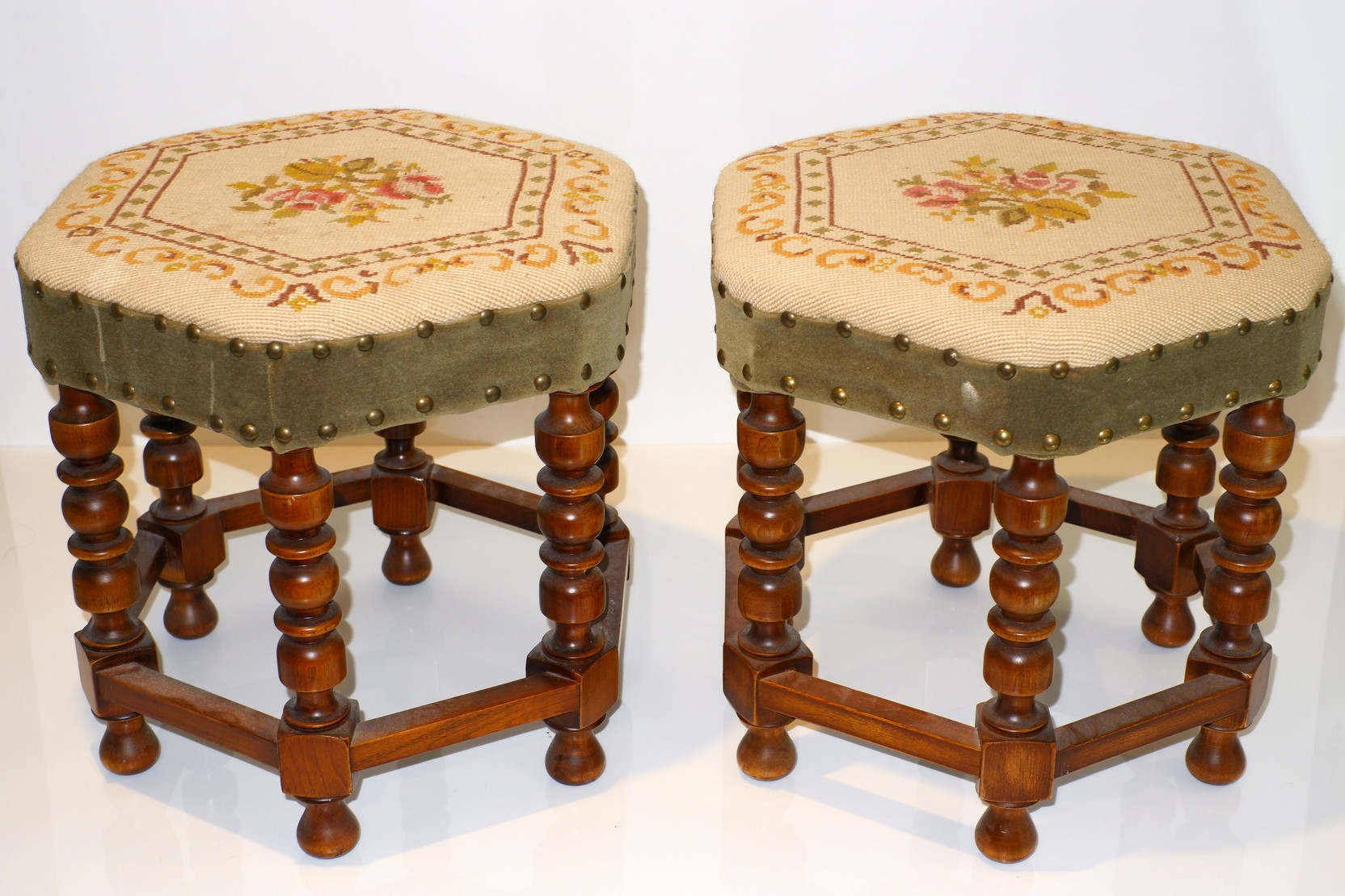'Pair of Anglo Chinese Hexagonal Footstools with Tapestry Seats'
