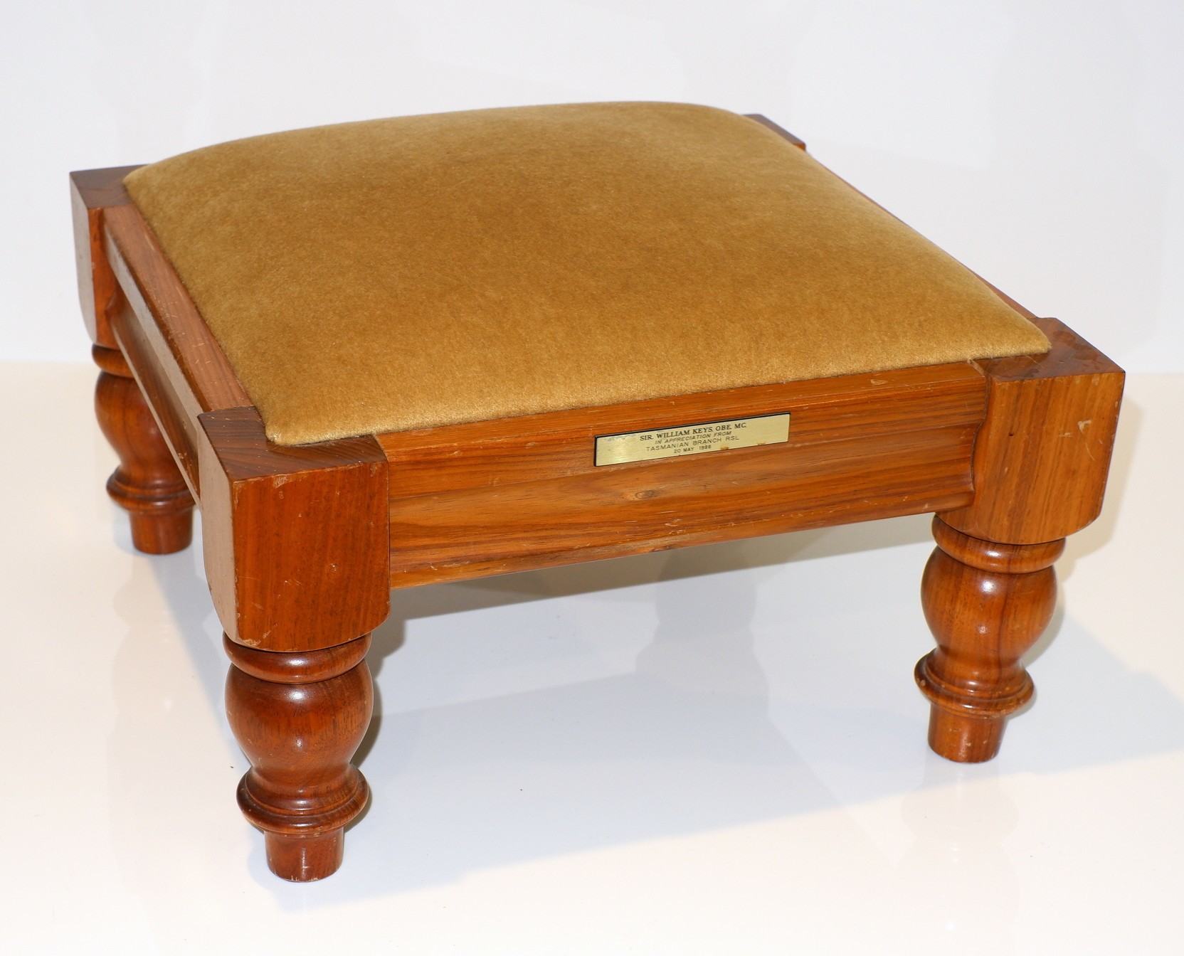 'Tasmanian Blackwood Stool Presented to Sir William Keys by the Tasmanian RSL Branch'