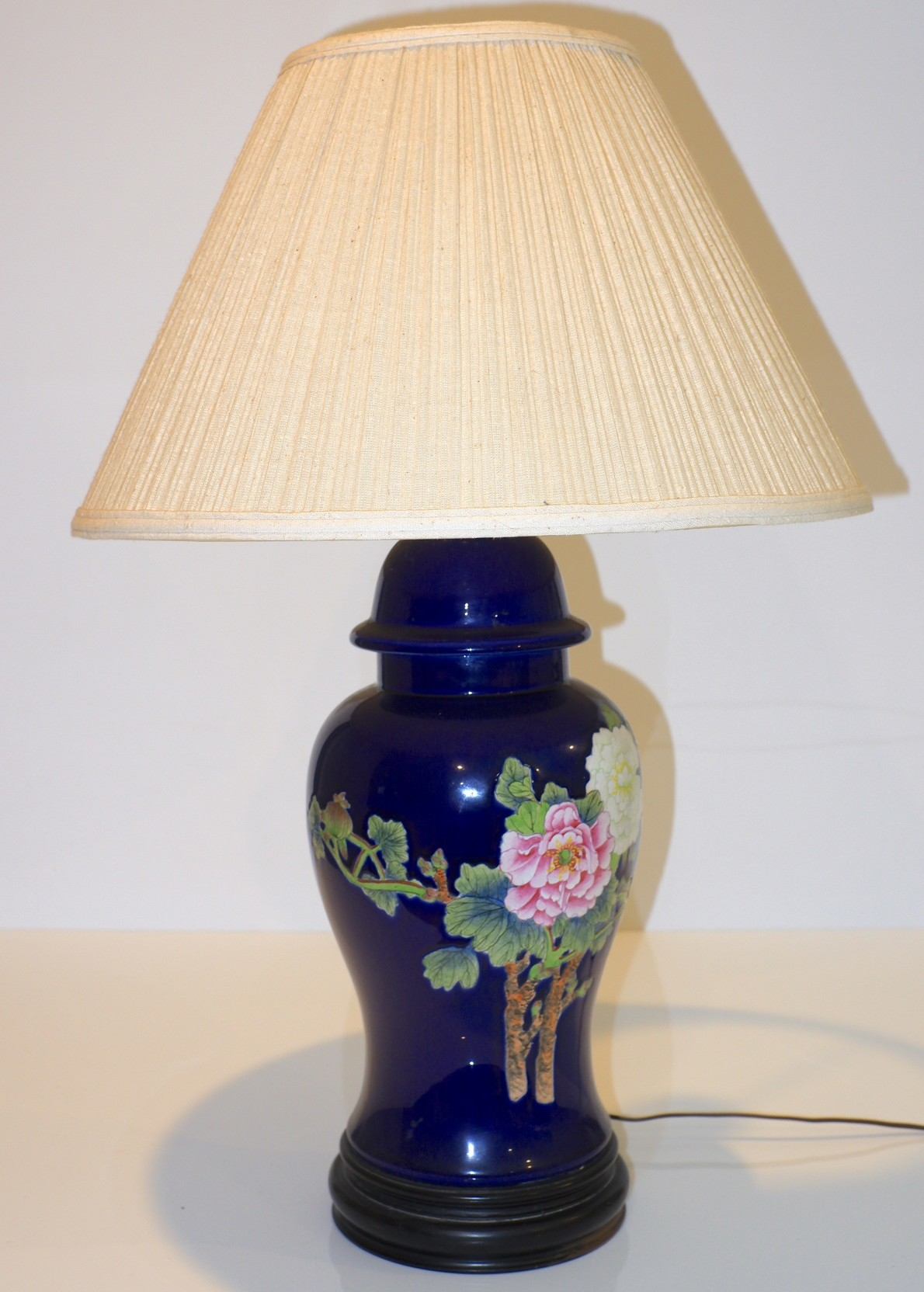 'Blue Glazed Korean Ceramic Table Lamp Hand Painted with Peony'