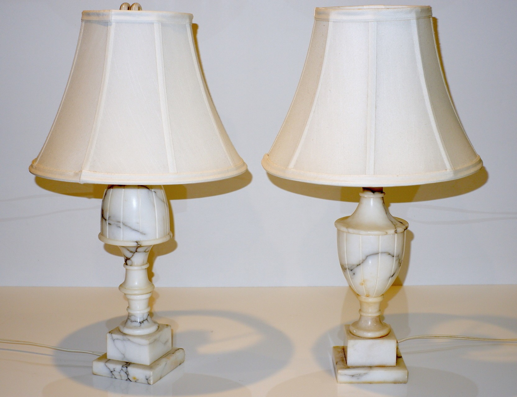 'Near Pair of Marble Based Lamps'