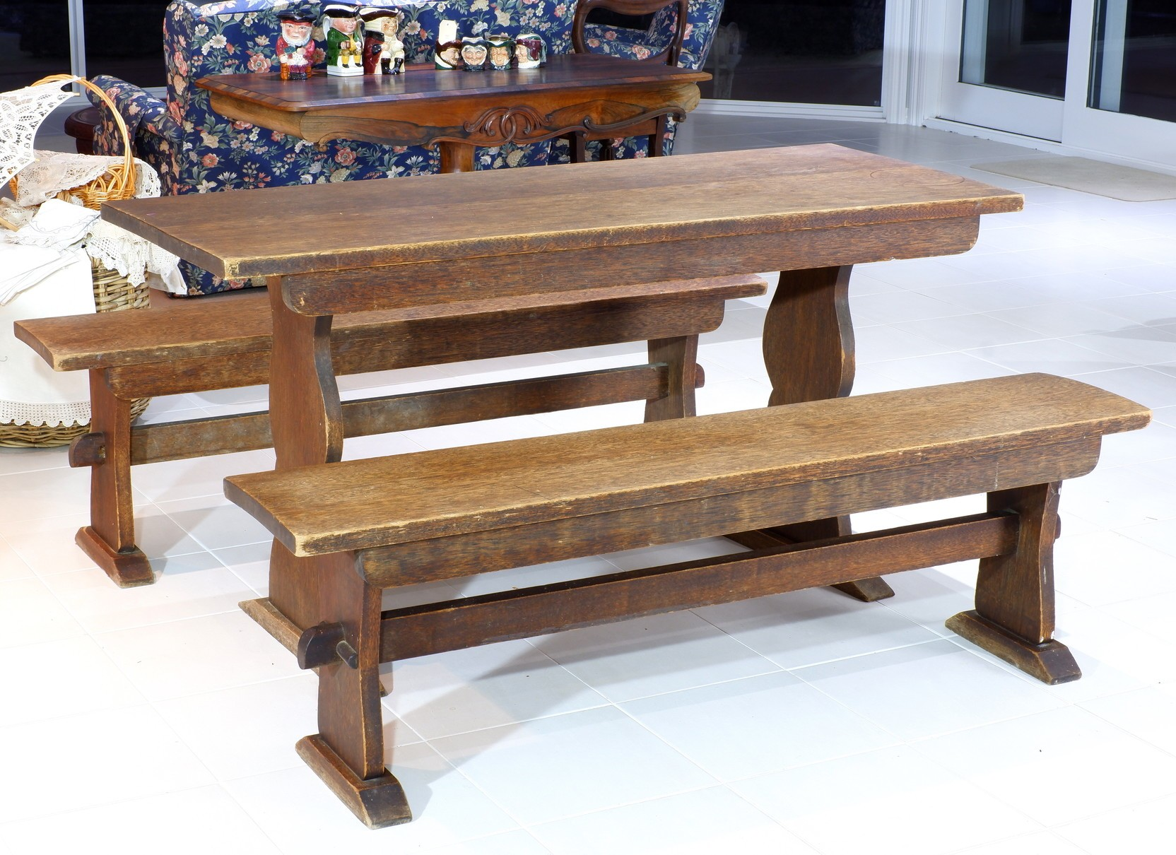 'Vintage Maple Refectory Table and Bench Seats'