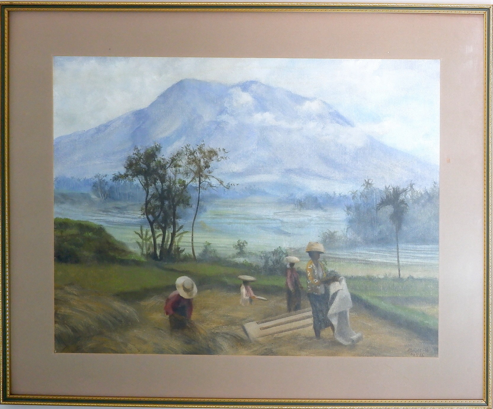 'Balinese Oil on Canvas Signed Purnomo 1986'