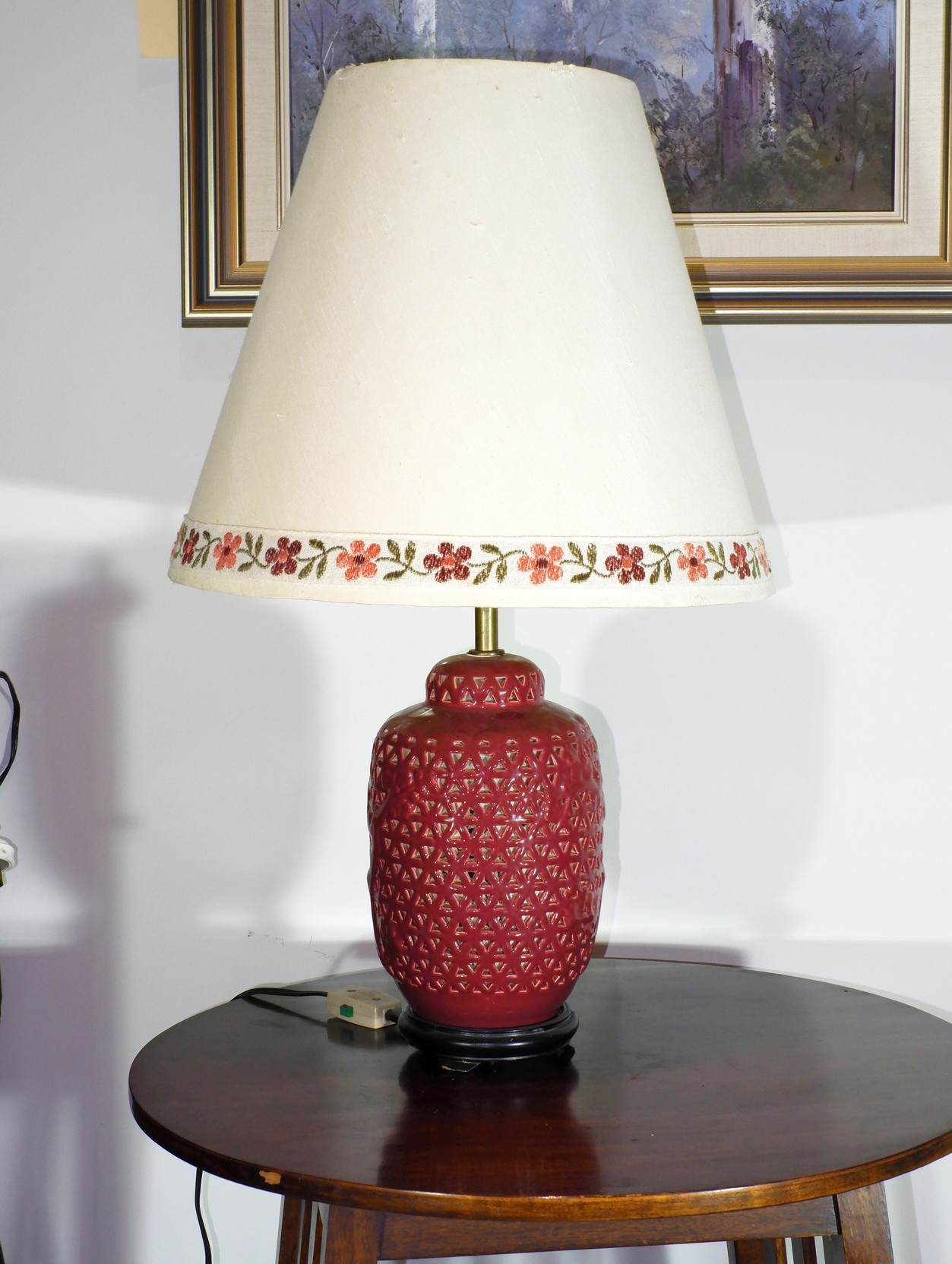 'Korean Pierced Ceramic Table Lamp'