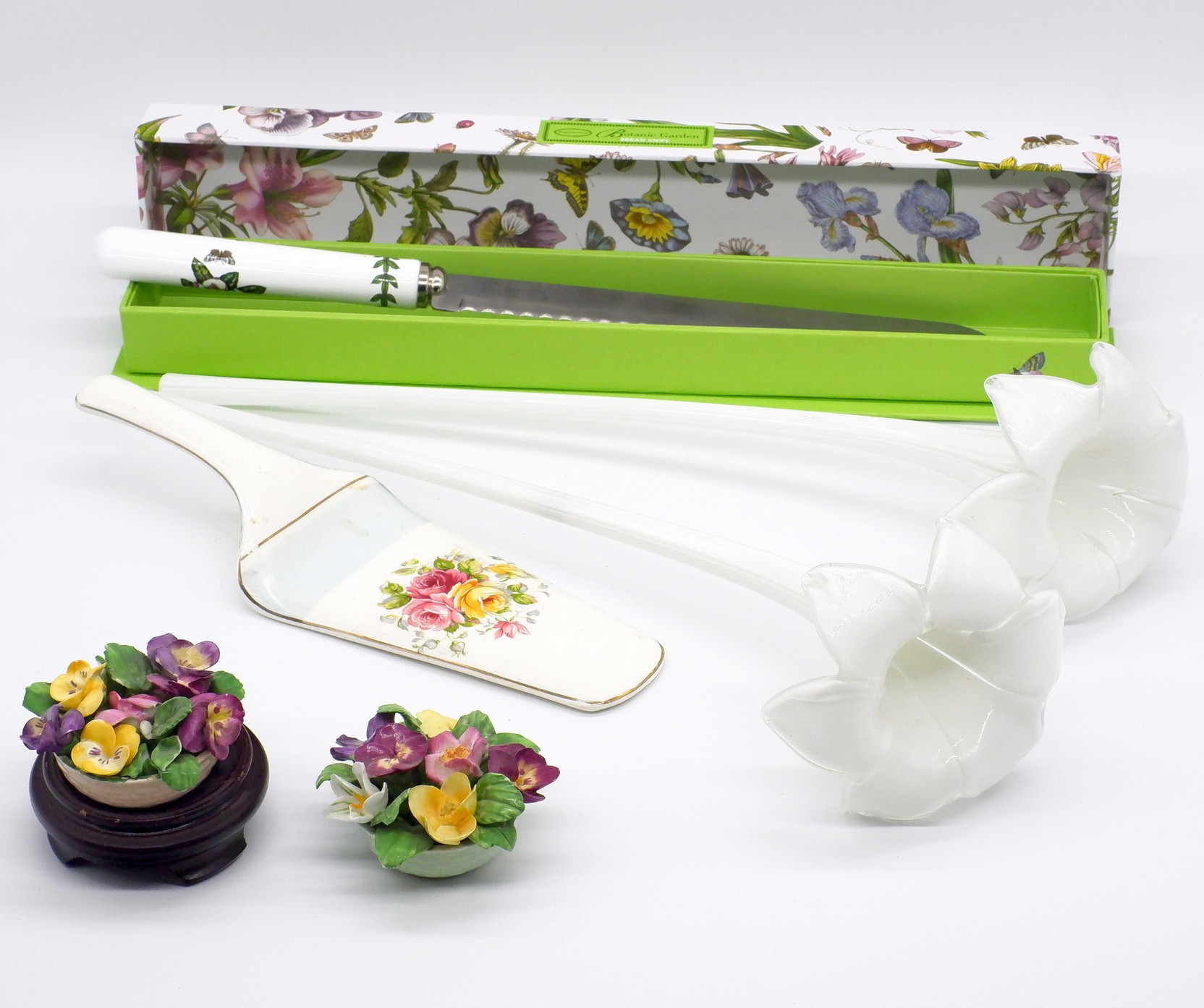 'Two Porcelain Bouquets, English Cake Slice, Portmeirion Knife and Two Glass Epergne Stems'