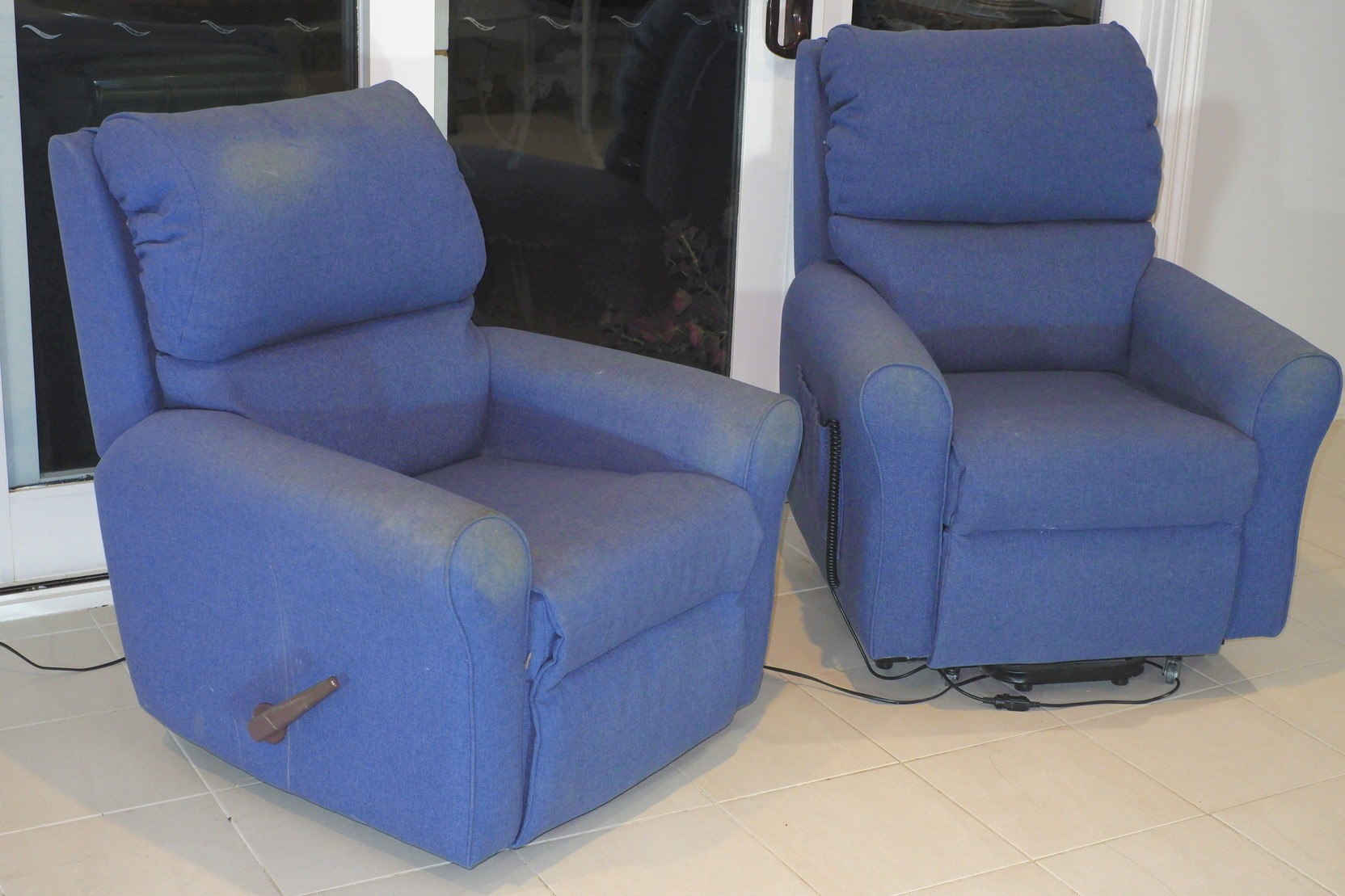 'One Electric and One Manual Blue Fabric Upholstered Armchairs'