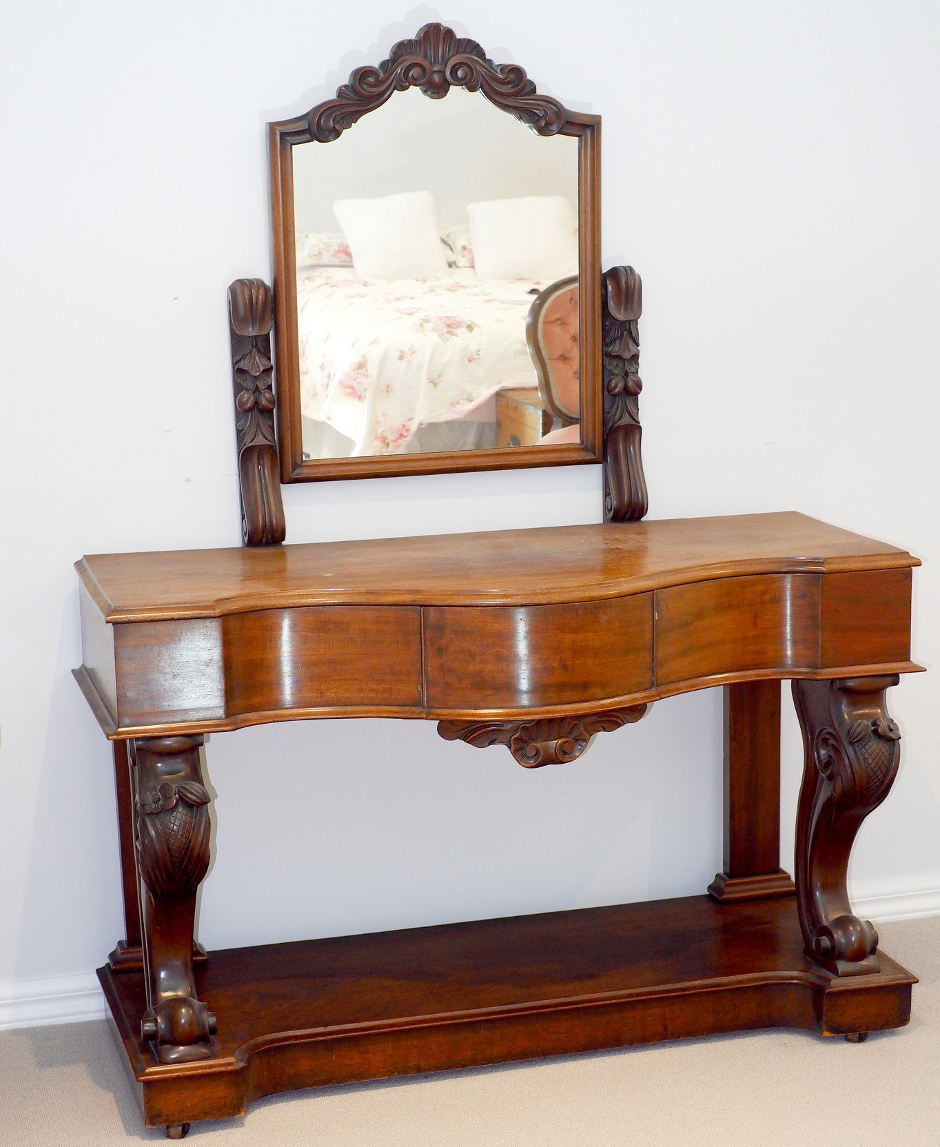 'Victorian Mahogany Serpentine Front Dressing Table Circa 1880'
