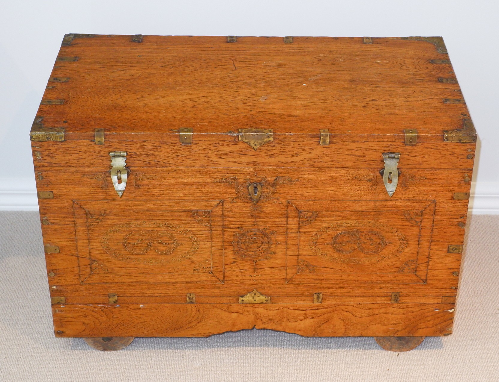 'Antique Burmese Teak Actors Chest with Interior Prayer Shrine'