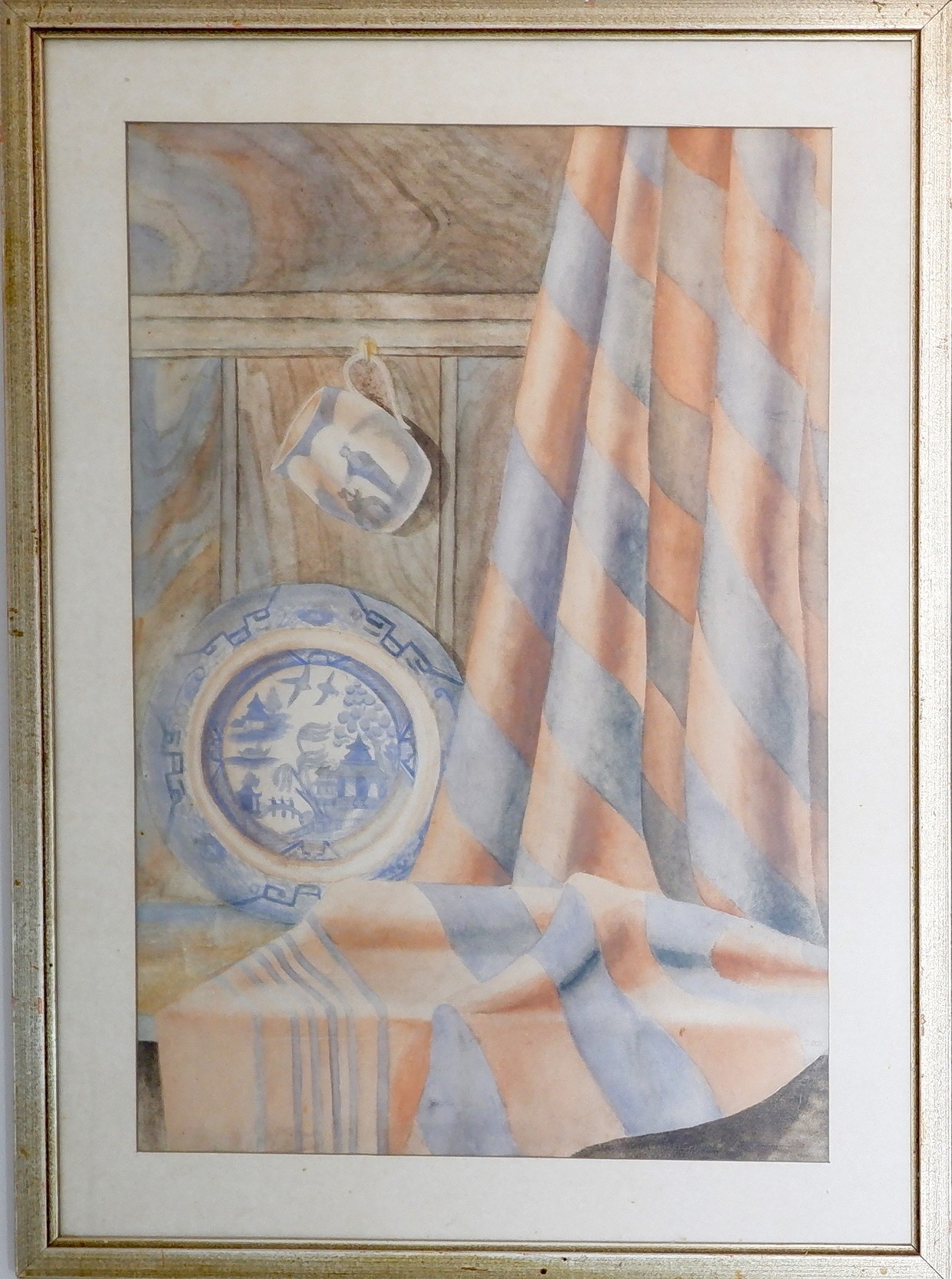 'D Cox Still Life with Blue Willow Plate Watercolour'