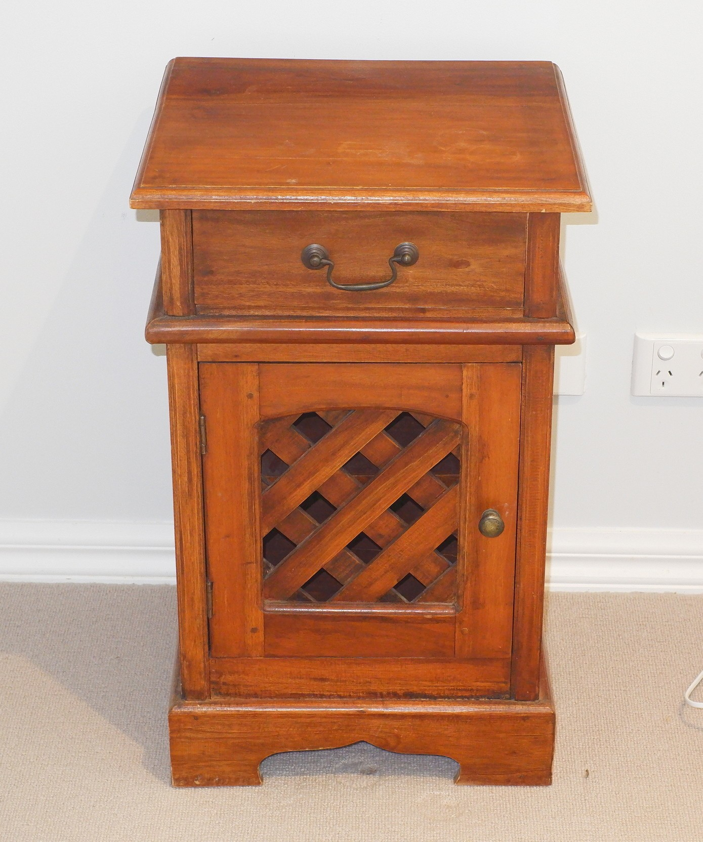 'Indonesian Mahogany Bedside Table'