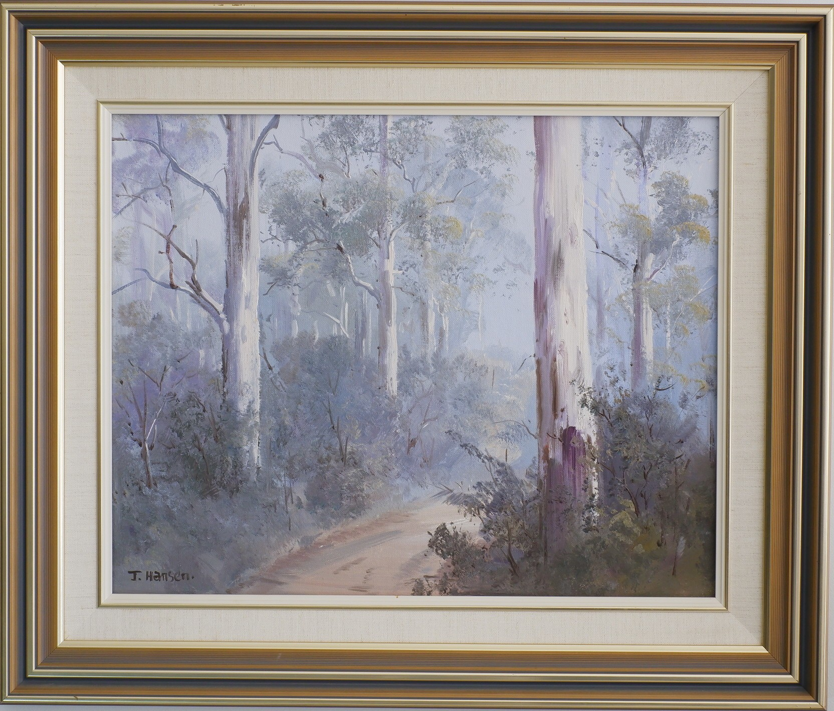'John Hansen Forrest Mist Oil on Board'
