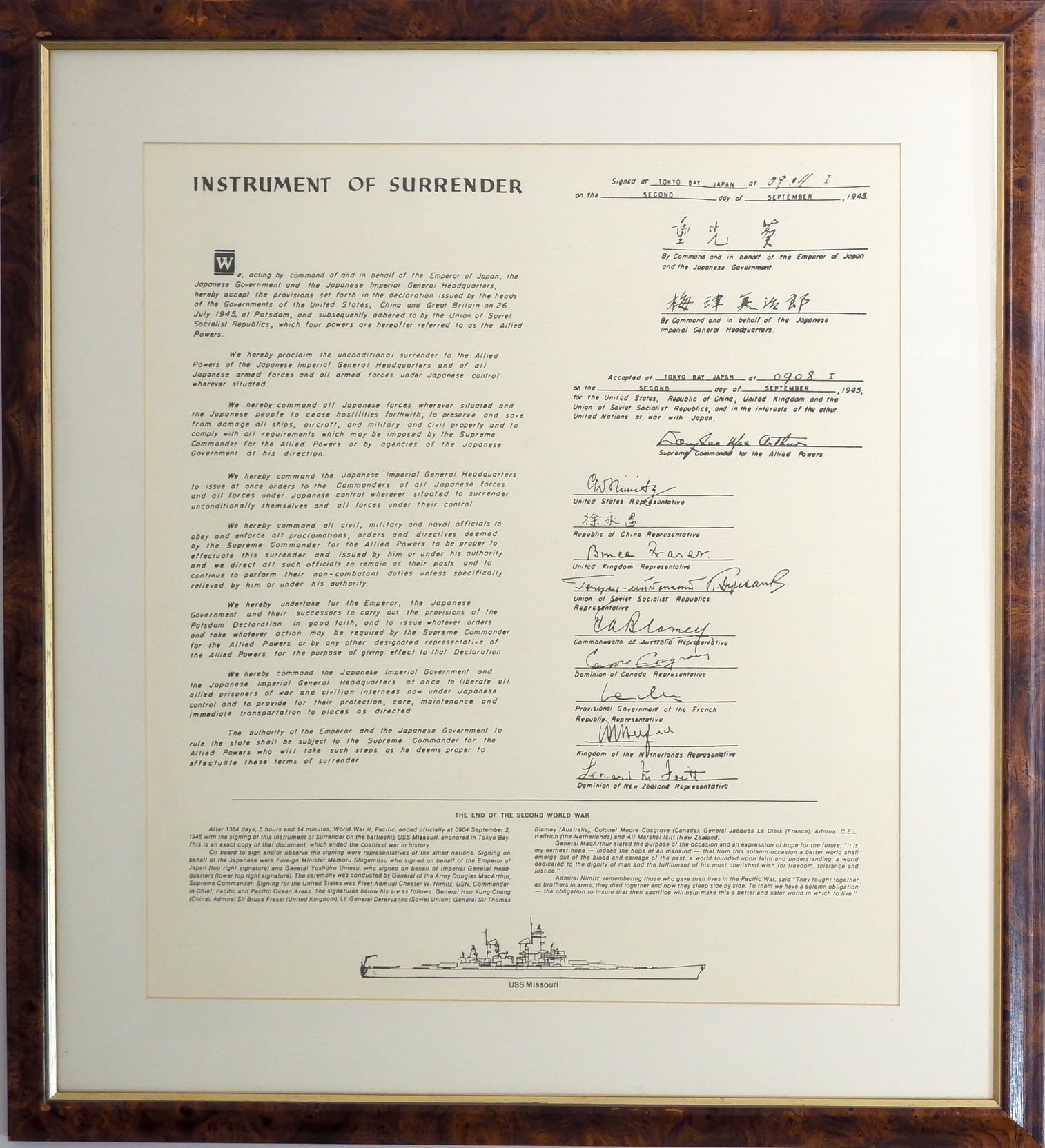 'Framed Print of the Japanese Instrument of Surrender'