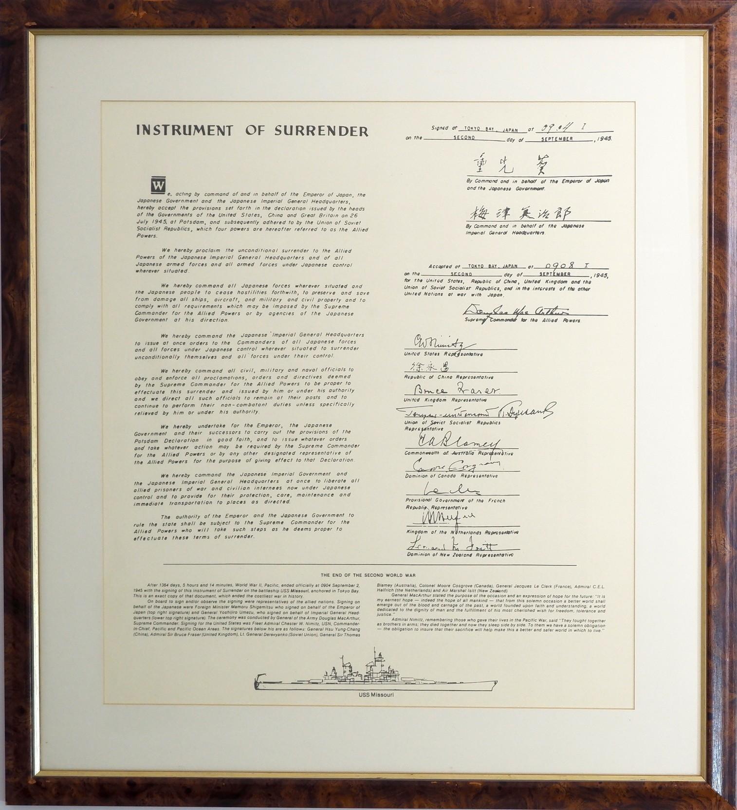 'Framed Print of the Japanese Instrument of Surrender'