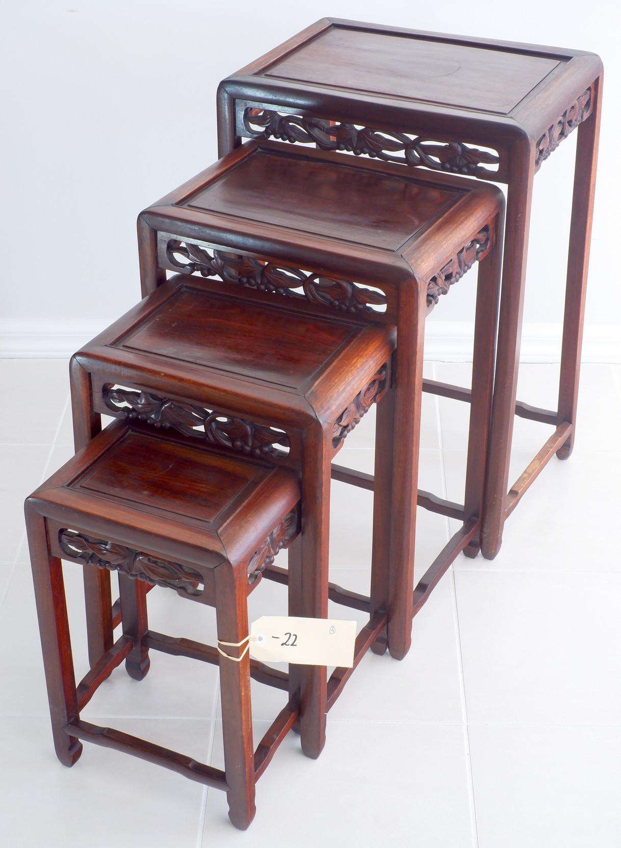 'Nest of Vintage Chinese Rosewood Tables'