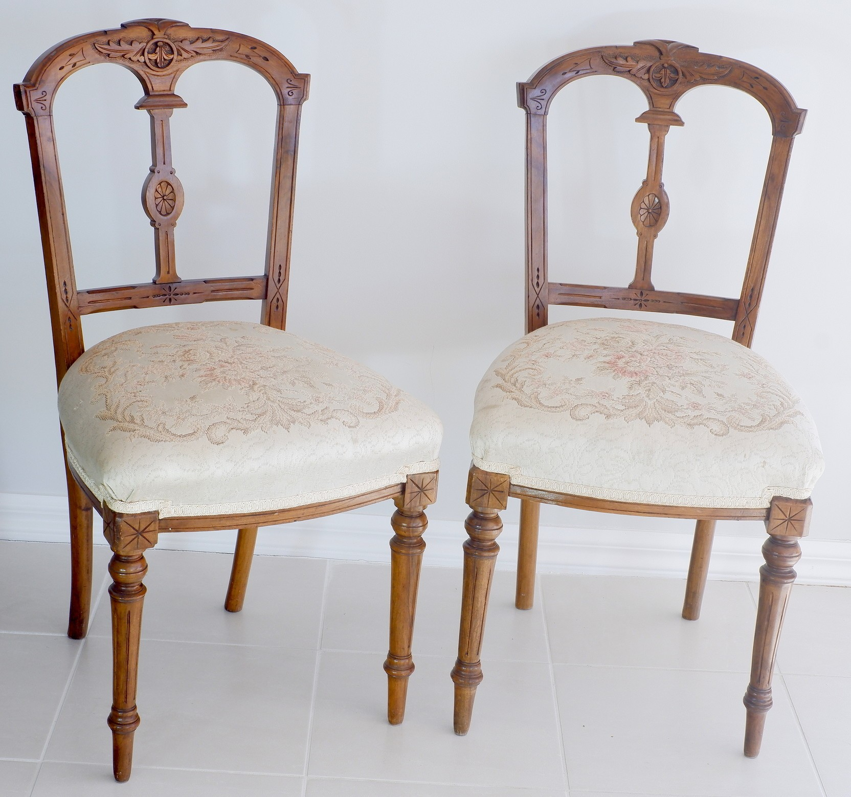 'Pair of Late Victorian Walnut Side Chairs with Embroidered Seats Circa 1890'