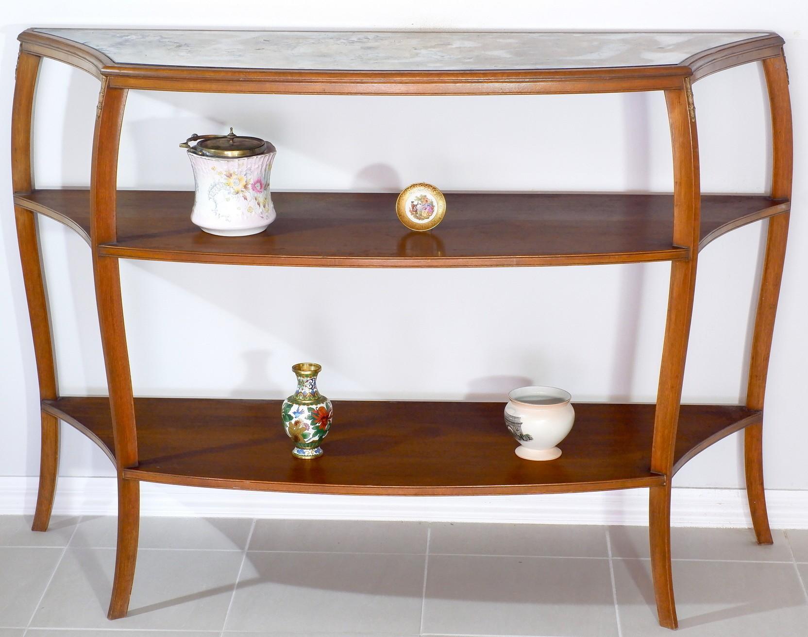 'Vintage Louis Style Fruitwood Mirror Top Etagere'