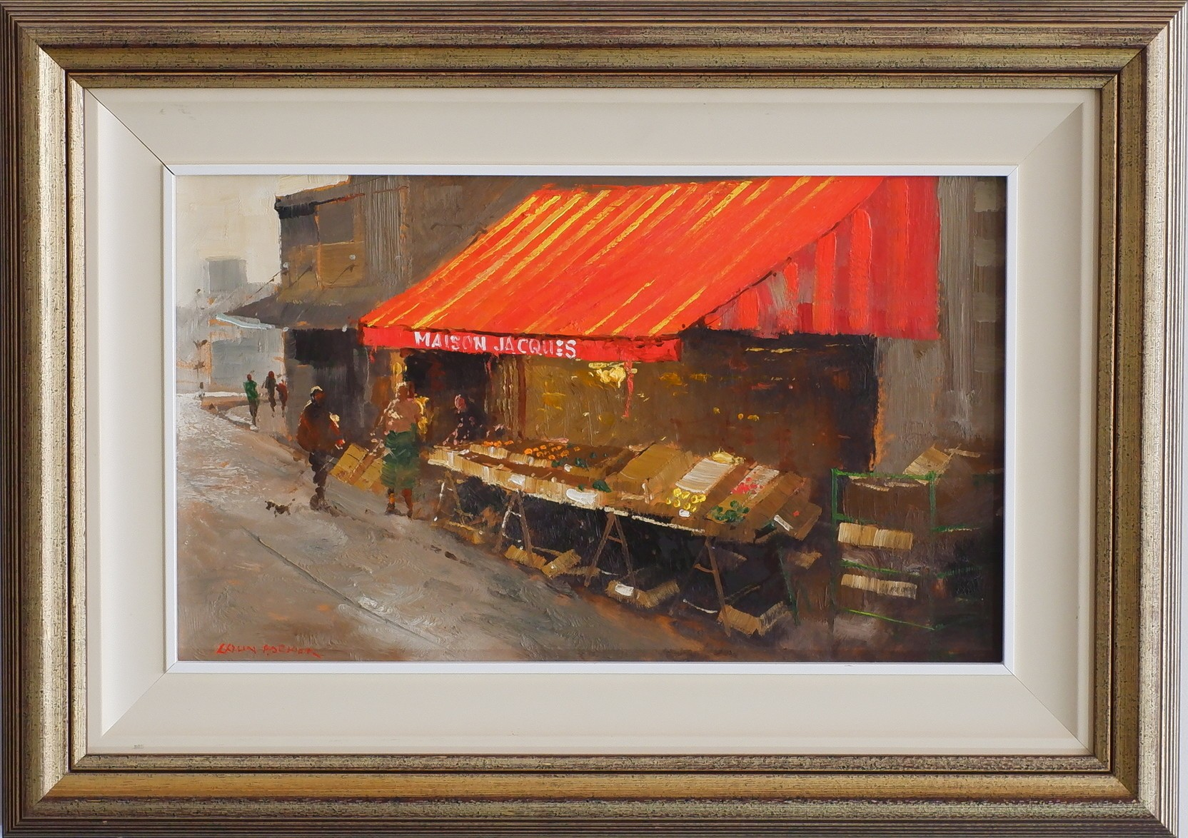 'Colin Parker (1941-) Fruit Shop Saint Marcel Paris Oil on Board'