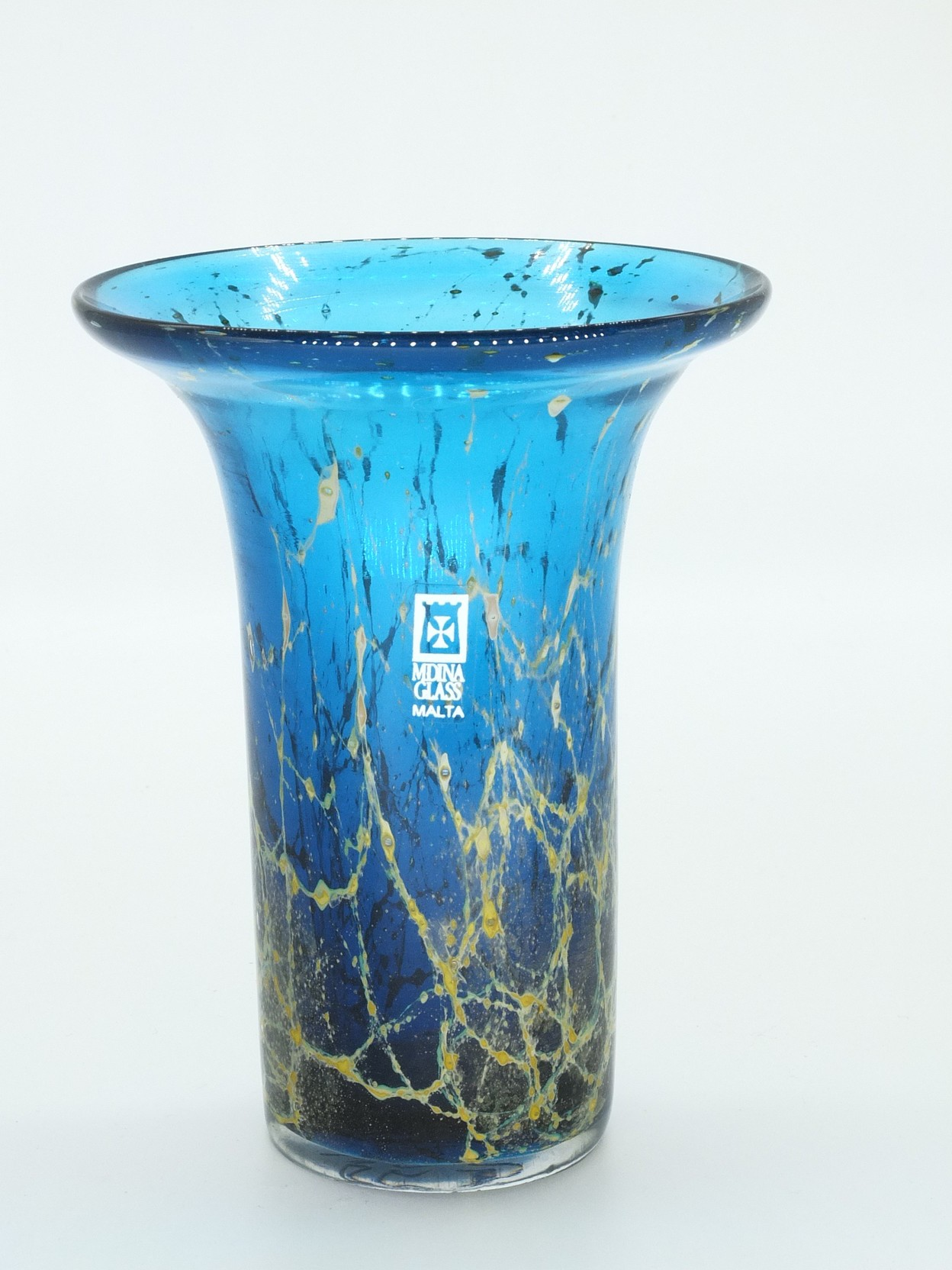 'Mdina Malta Blue and Green Glass Vase'