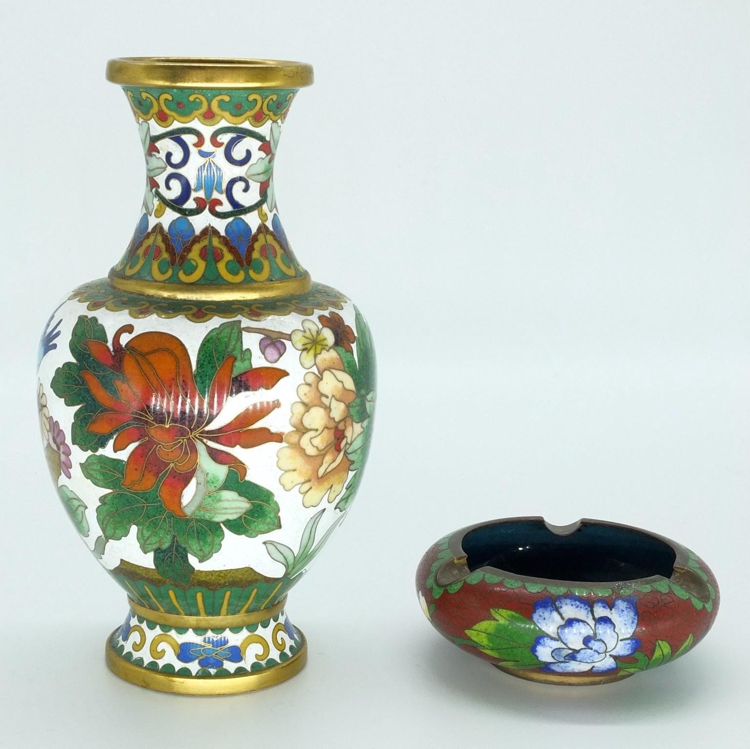 'Chinese Cloisonne Vase and Ashtray'