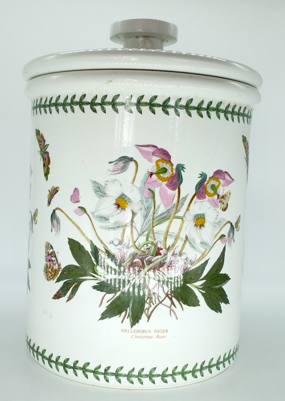 'Large Portmeirion Botanic Garden Christmas Rose Bread Crock'