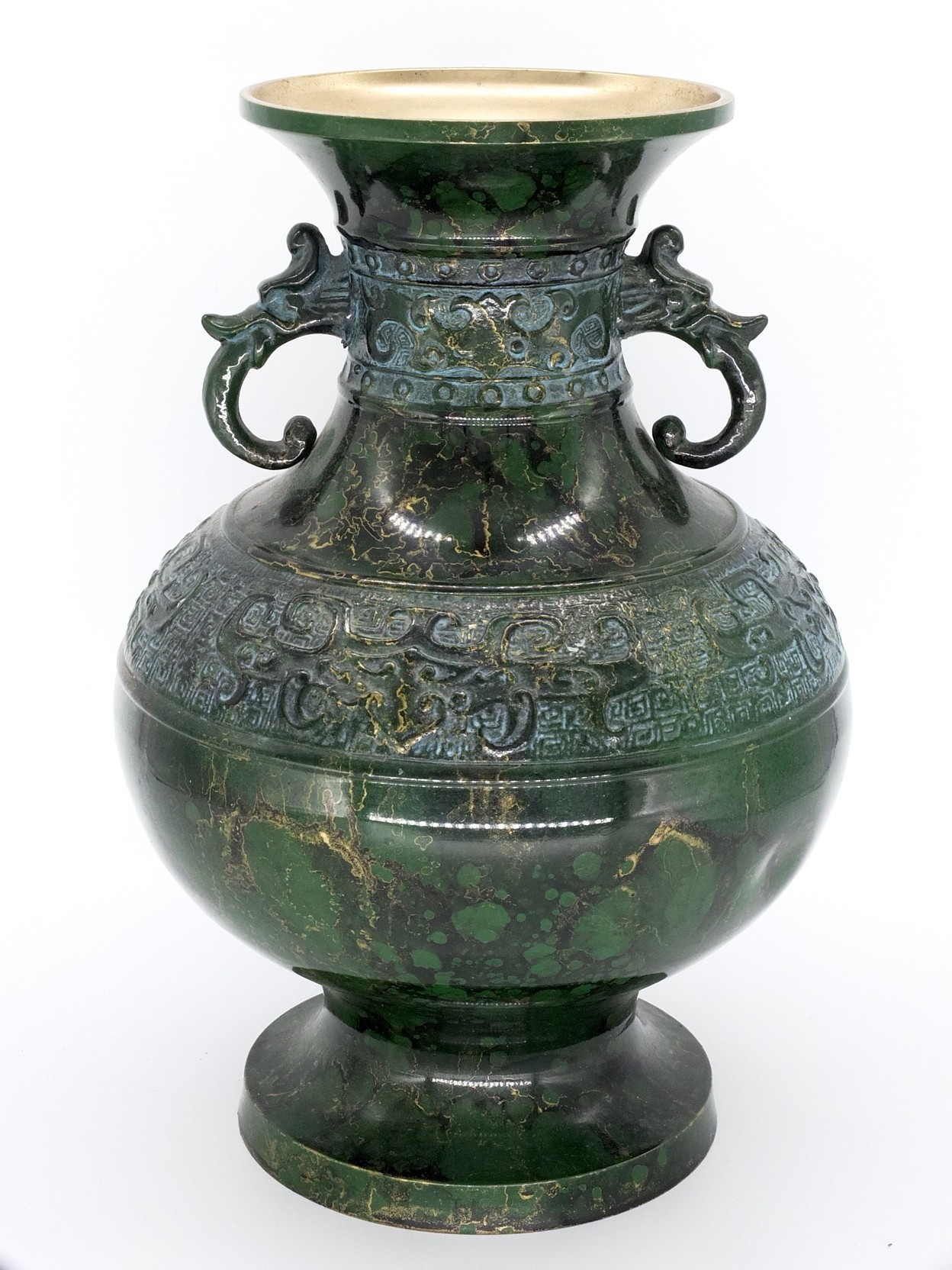 'Korean Lacquer Decorated Brass Archaistic Vase'