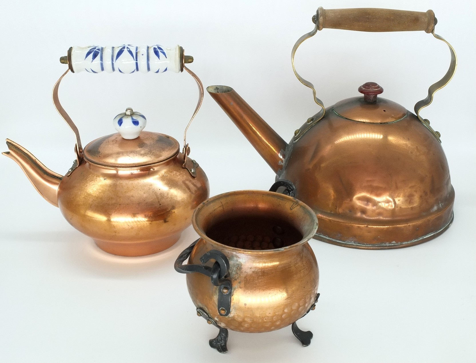 'Two Copper Teapots and a Spittoon'