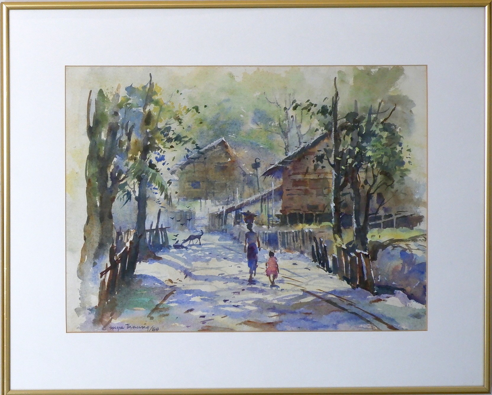 'Mya Thaung (1943-) Rangoon Street Scene Watercolour'