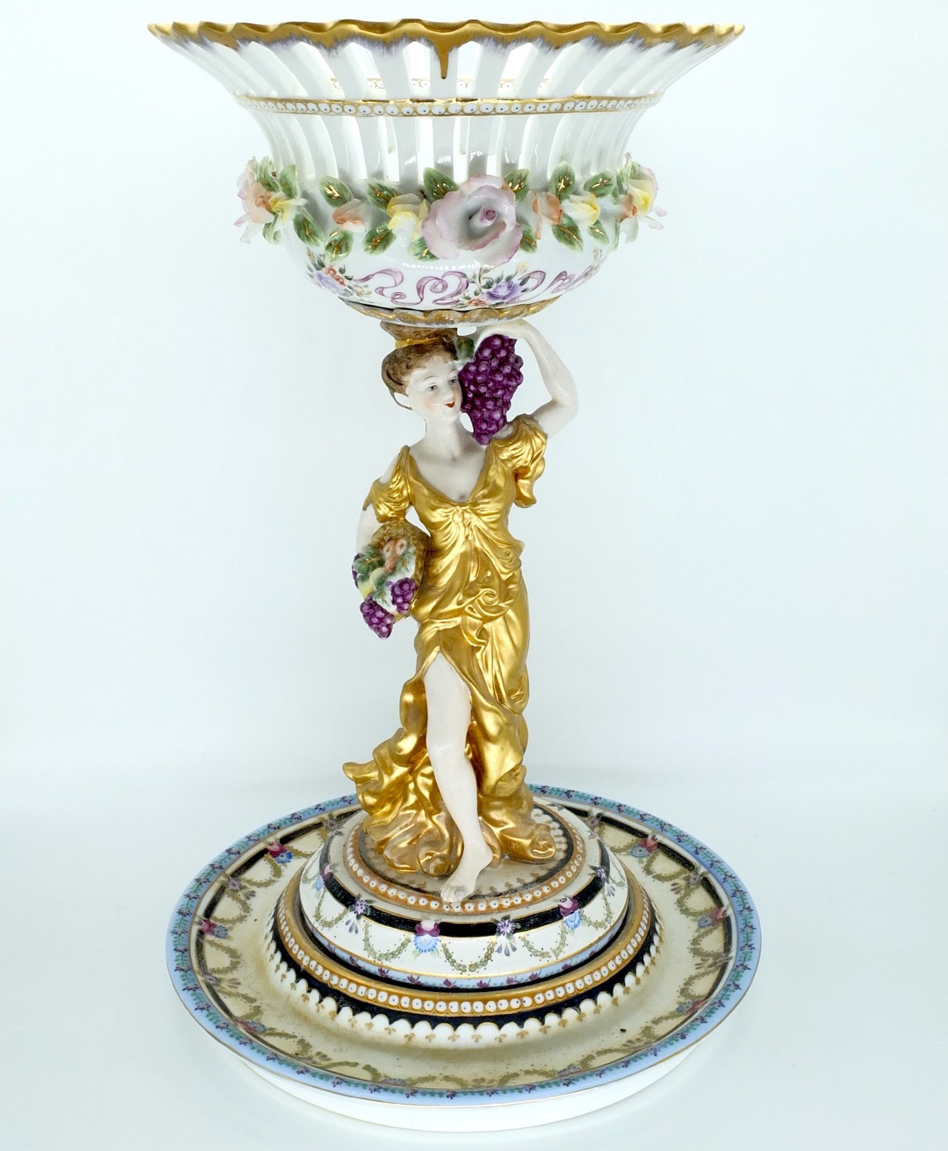 'Large Dresden Hand Painted Porcelain Figural Comport'