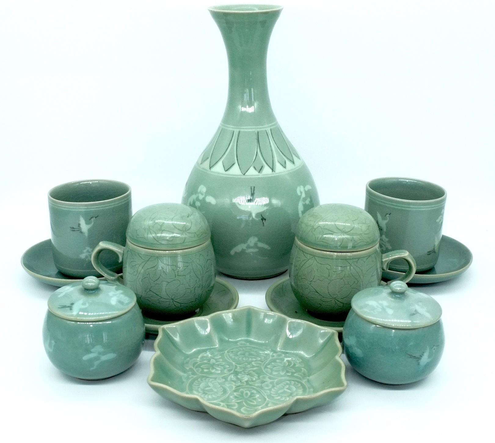'Group of Vintage Korean Celadon Bowls and a Vase'